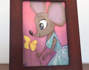 ORIGINAL | Mouse and Flower | 3x5 Framed Acrylic Painting | Flimflammery