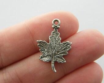 8 Maple leaf charms antique silver tone L149