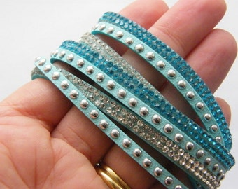 1  Blue suede rhinestone bracelet 40.5cm NB5