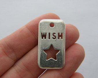 2 Wish upon a star charms antique silver tone M682