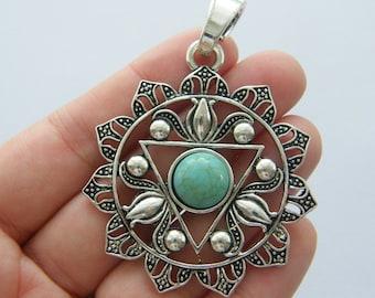 1 Chakra flower pendant antique silver tone I97