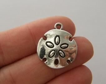 6 Sand dollar charms antique silver tone FF9