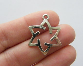 8 Star of David charms antique silver tone R97