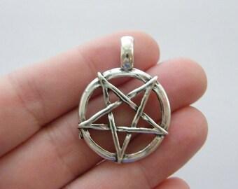 4 Pentagram pendants antique silver tone HC81