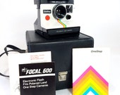 1970s Polaroid ONE STEP - Rainbow SX-70 Instant Land Camera in White - With Flash and Carry Case