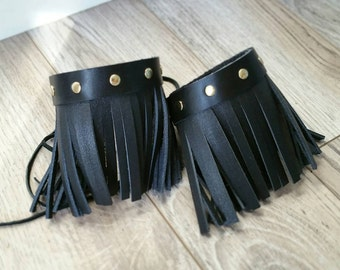 Custom Leather Fringe Boot Cuffs