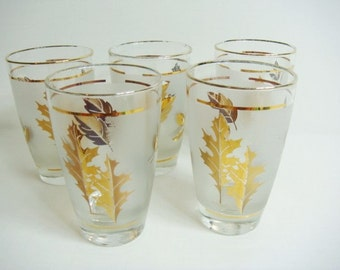 Libbey Gold Leaf Frosted Tumblers Set of 5