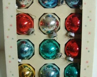 Shiny Brite Mercury Glass Christmas Ornaments - Set of 12