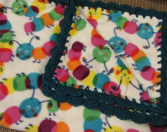 Baby Blanket With Crochet Ruffle - Bright Primary Colors Caterpillars - Baby Boy