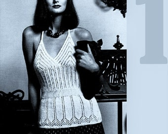 Knitting Pattern HALTER NECK Top Womens  summer Lacy camisole PDF