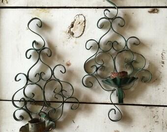 Vintage filigree metal candleholders | sconces| home decor | boho cottage