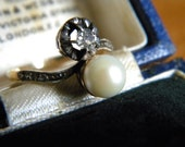 REDUCED WAS 210 Antique Victorian 18k gold and silver genuine pearl and old mine diamond ring - alternative engagement ring wedding ring