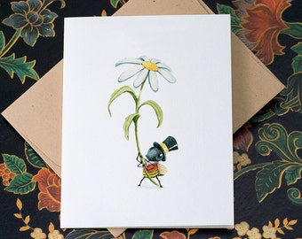 Daisy-bee, individual Mothers Day card.
