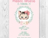 Vintage Kitty Birthday Party Invite 5x7 or 4x6