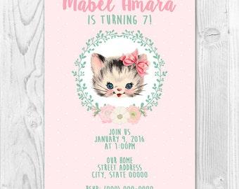 Vintage Kitty Birthday Party Invite 5x7 or 4x6