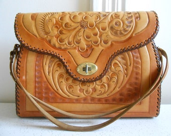 Tooled Leather Handbag/Light Brown and Cognac Color/All Leather Interior