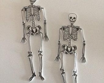 White Skeleton Earrings