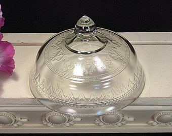 Rare Federal Crystal Depression Glass Patrician or Spoke Round Butter Dish Lid, 1920s Vintage Antique Glass Dinnerware, Kitchen Glass