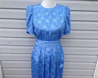 Satin Blue Vintage Day Dress in Damask Pattern