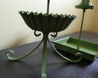 Vintage Garden Decor Accents . Candleholders . Set of Two