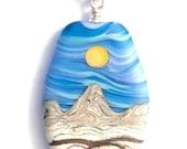 Handmade Matte Finish Lampwork Sunny Periwinkle Sky w Goldstone Desert Mountain Landscape Focal Bead Necklace