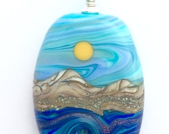 PENDANT: Handmade Lampwork Sunny Turquoise Sky w Ocean Wave Mountain Landscape Focal Bead Pendant w/ Sterling Silver Findings
