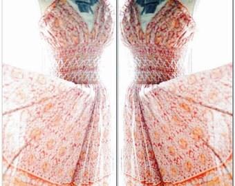 Sale Burning man Festival sundress, Vintage boho halter dress, Hippie Indian print day tripper dress, Bohemian 2016, True rebel clothing