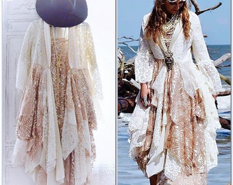 Winter white lace Jacket, Romantic spell gypsy magnolia lace pearl duster, Boho fall jacket, Holiday sequin coat, shabby True rebel clothing