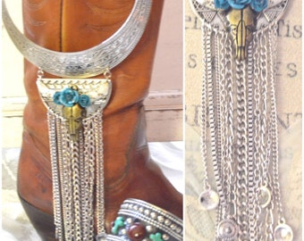 Junk Gypsy Steer necklace, gypsy cowgirl fringe collar Fringe jewelry, Country music festival jewelry, Cowskull necklace True rebel clothing