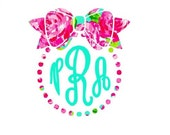 Lilly Pulitzer Vinyl - Bow and Pearls Monogram Decal - Many Sizes Available - For your Laptop, Cell Phone, Mirrors, CamelBaks,  Car Windows