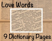 """Printable """"Love Words"""" Dictionary Pages - 9 Digital Collage Sheets - 0001"""