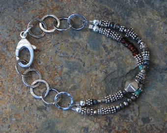 Sterling Silver HANDMADE Link Chain with 2 strands of Sterling Beads Garnet Turquoise Pyrite LARGE sterling lobster claw clasp