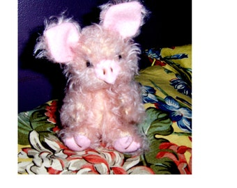Artist piggy 8inch Fuzzy, new edition, jointed, German mohair, Glass eyes, LE 4,