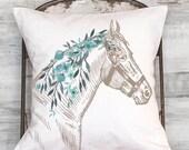 Farmhouse Decor Equestrian Decor Horse Pillow Cover