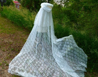 Summer Lace Bridal Cape  25/105-inch Ivory Lace / Ivory Satin wedding cloak Reversible Hooded with Fur Trim Handmade in USA