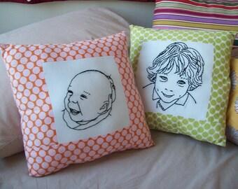 Custom Portrait Pillow Unique Gift for Parents Grandparents Embroidered Portrait Pillow Mother's Day Mothers Day Gift Gift for Grandma
