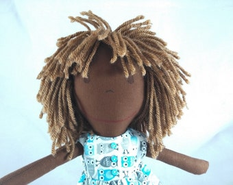 READY TO SHIP African American Rag Doll, dark skin tone,mop of light brown hair,Removable Clothes,Rag Doll,Fabric Doll, Plush Doll