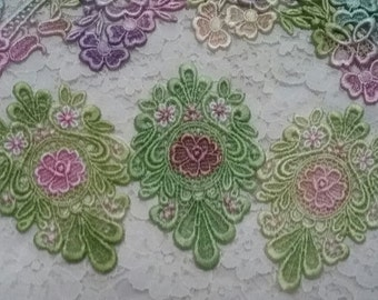 Lace Flower Medallion Hand Dyed Venise  Lace Applique Embellishment