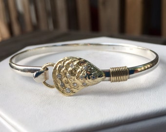 Oyster Shell Hook Cuff Bracelet 14k Gold, Diamonds and Sterling Artisan Made