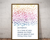 Pluviophile Rain Lover Printable Art  Saying Quote Print Your Own Instant Download Art Print Wall Art Typography Poster Home Decor