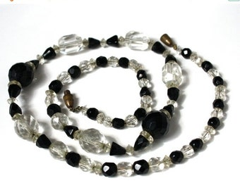SALE Vintage Art Deco Czech Black and Clear Bead Necklace
