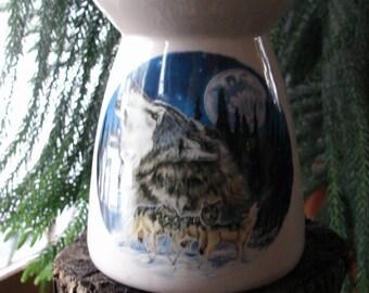Winter Mountain Wolves! Ceramic Tea Light Tart Burner