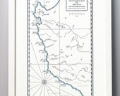 Monterey Bay to Big Sur California Coast Letterpress Map Print (Dark Grey)