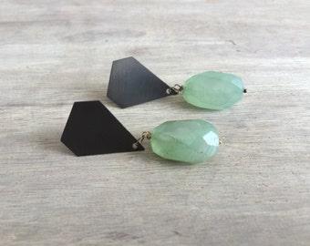 Green Chalcedony Drop Earrings with Diamond Shape Oxidized Silver
