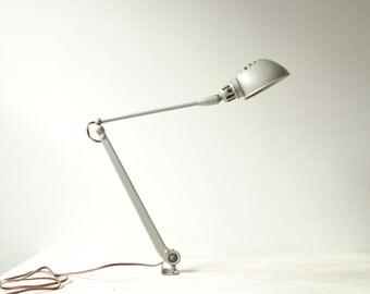 Vintage Task Lamp Industrial Desk Lamp in Silver Grey Metal