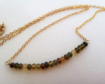 Gemstone block necklace, multi color necklace, green, brown, gold necklace, petro tourmaline block necklace, layer necklace, row necklace