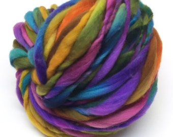 Handspun yarn, 54 yards and 3.4 ounces, 96 grams, spun super chunky, thick and thin in merino wool