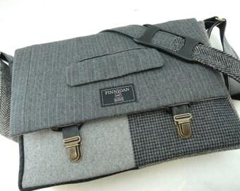 "Laptop bag, 13"" Macbook pro Messenger bag Macbook,Laptop Sleeve, Vintage, Wool, Trunk Latch,Recycled Suit Coat"