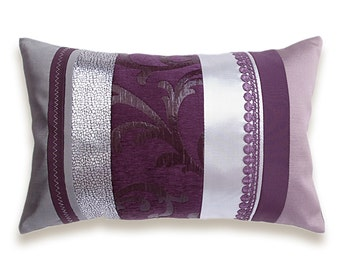 Purple Silver Mauve Gray Eggplant Violet Plum Ash Pink Dusty Lilac Lumbar Pillow Case 12 x 18 in IRMA DESIGN Limited Edition