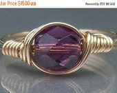 30% OFF Wire Wrapped Ring 14k Yellow Gold Filled Grape Purple Czech Glass